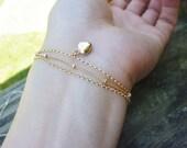 Multi Layered Chain bracelet-Satellite chain Bracelet Set-gold filled/puffy heart bracelet-Beaded/Satellite/dew drop chain-gold filled chain