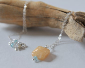 Yellow Jade and Blue Apatite Necklace