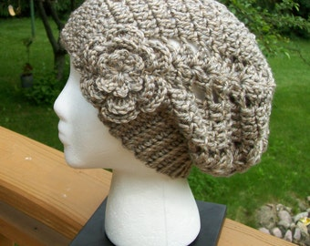 Crochet Slouchy Urban Beanie Hat with Flower Pin, Slouchy Slacker Hat- Teens/ Adults- in Taupe Twist