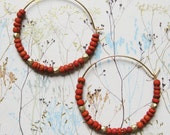 FIVE DOLLAR SALE! Bohemian Earrings Moroccan Hoops Dark Orange Matte Gold Hoop Gold Earrings African Bead Earrings Brick Matte Orange Tribal