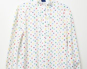 Super Cute Vintage 80s/90s White and Rainbow Button Up Retro Ruffle Women Shirt Blouse