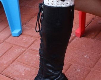 Boot cuffs  with mustache buttons
