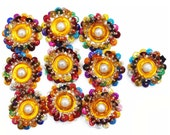 Royal Multicolor Floral Shape Sequins Appliques Supplies Sewing Crafting Dress Patches India By 20 Pcs APS221A
