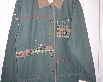 Green Denim Shirt Jacket, Deer & Dove Embroidered, Trimed in Tan Corduroy, by Nanas Vintage Shop on Etsy