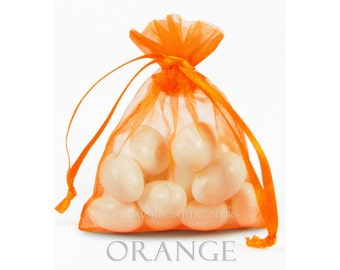 100 Bright Orange Organza Bags, 4 x 6 Inch Sheer Fabric Favor Bags, For Wedding Favors, Jewelry Pouches