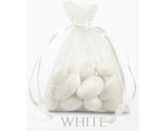 10 White Organza Bags, 12 x 14  Inch Sheer Fabric Favor Bags