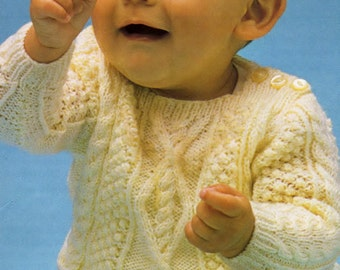 Knitting Pattern, cabled sweater, aran baby sweater,