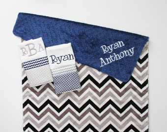 Personalized DOUBLE MINKY CHEVRON Baby Boy Blanket or Lovey Plus 2 Burp Cloths - Navy and Gray