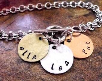 Personalized Jewelry, Personalized Bracelet, Mommy Bracelet, Stainless Steel Bracelet, Hand Stamped Jewelry, 3 Mixed Metal Discs