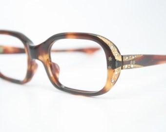 Small Tortoise Rhinestone cat eye glasses vintage cateye frames eyeglasses