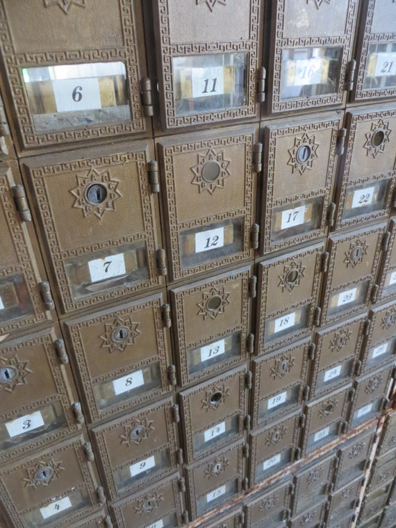 Vintage Post Office Box Mail Cubby Cabinets Divided Block Of