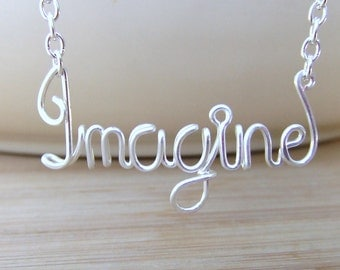 Imagine Necklace, Personalized Name Necklace Wire Word Name Jewelry Inspirational Affirmation Personalized Gifts Jewelry Gifts Under 20