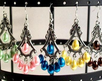 Chandelier Earrings, Pearl Tear Drop Earrings, 2 Inch Earrings, Available 20 Colors, Select Ear Wires