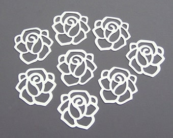 15 silver flower charms with cutouts, 20x20mm