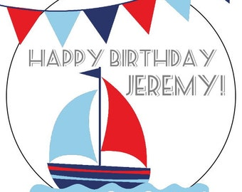nautical birthday stickers, sailboat birthday--available in 3 sizes