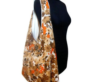 SALE Vintage Fabric Retro Boho Bag, in a 60s 70s Brown and Orange Flower design