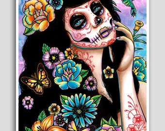 Gardenia 18x24 inch poster sized art print - Day of the Dead Sugar Skull Bouquet Girl Flowers and Roses