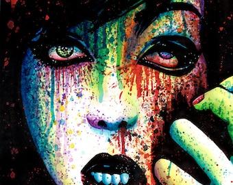 Pop Art Signed Print Torn Apart Punk Rock PopArt Rainbow Splatter Portrait Grunge Girl Horror Art Print 5x7, 8x10, or apprx 11x14