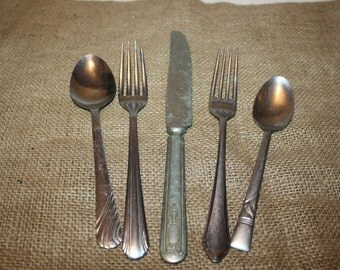 Vintage Flatware Assortment - set of 5