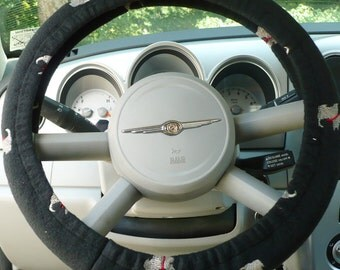 Fleece - ( Warm ) -  Car  Steering Wheel Cover - ( Cars Only ) -  Price Is For Each - Scottie Embroidered