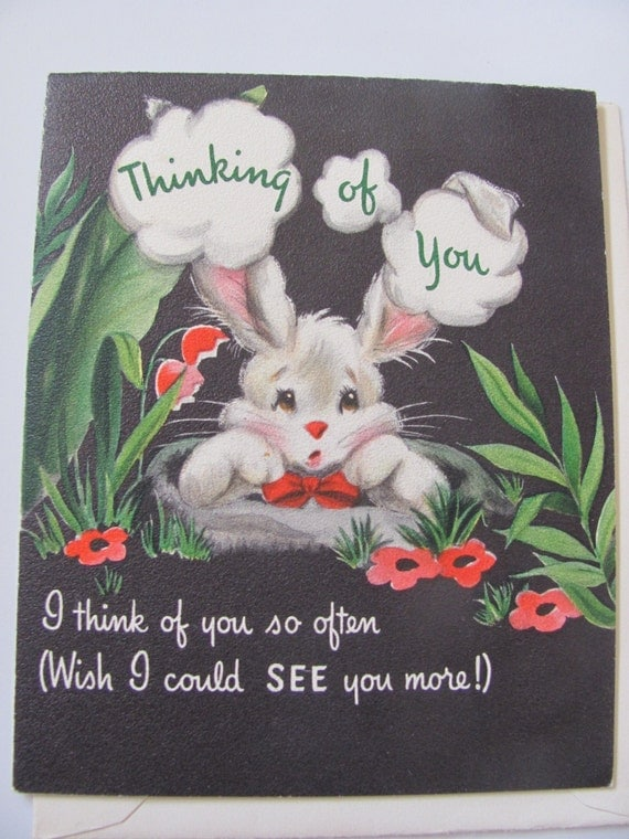 Unused Vintage Antique Retro Greeting Card - Circa 1950s - Thinking of You