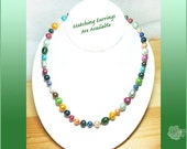 """18"""" Necklace 6-9mm Multicolored Bright Colored Fresh WaterPearls With Interesting Shapes Gold Fishhook Pearl Clasp Colorful Strand of Pearls"""