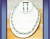 """20"""", Opalite Geometric Shaped Gemstones, Light Sapphire AB Crystal Rondels, Silver Spacers Necklace, And/Or Matching Heart-Front Earrings"""