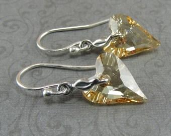 Golden Shadow Crystal Wild Heart Silver Earrings