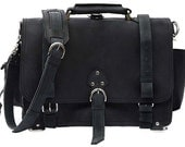 Leather Messenger Bag Briefcase Backpack MEDIUM - Charcoal Black, Made In USA