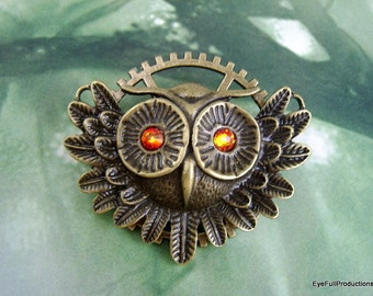 """Owl Brooch/Pin, """"All the better to see you with"""", Gear, Fire Opal Eyes, Handmade USA"""