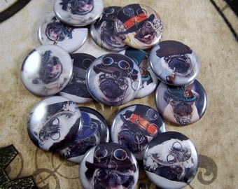 "Pug Magnets, Pug Pins, Steampunk Pug Pins, Steampunk Pugs, 1"" Flat Bk, Hollow Bk, Cabochons, 12 ct"