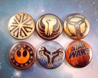 "Star Wars Symbols Magnets, Star Wars Symbols Pins, Star Wars Magnets, Star Wars Pins, 1"" Flat, Hollow Bk, Cabochons, 12 ct"