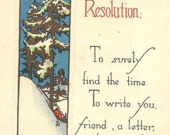 New Year's Resolution Snowy Scene on Vintage Postcard 1919