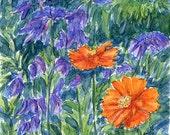 Orange, purple and green - watercolor & ink - print