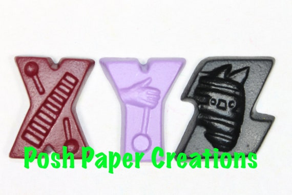 Fun letter crayons - three (3) - assorted colors