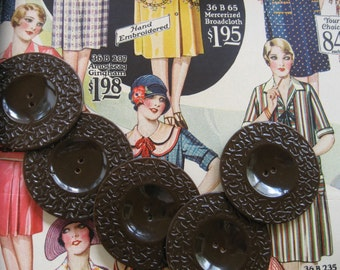 Vintage Brown Bakelite Buttons...unusual molded pattern...new old stock...1930...lot of 20