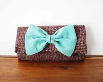 Upcycled Brown and Maroon Plaid Wool Trifold Clutch Wallet with Seafoam Silk Bow
