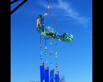 Sea dragon stained glass wind chime, brockus creations