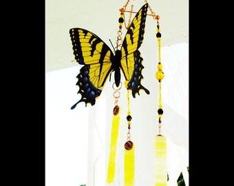 Swallowtail butterfly stained glass wind chime sun catcher brockus creations 6069