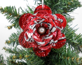 Dr. Pepper Flower Christmas Ornament.  Recycled Soda Pop Can Art.  Double-sided.