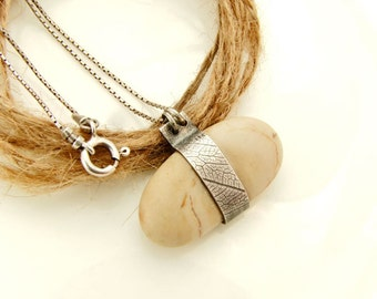 Handmade Jewelry Sterling Silver with Beach Stone Necklace/ Special Original Design Leaf Imprint