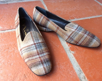 Vintage Brown Wool Plaid Slippers 6.5