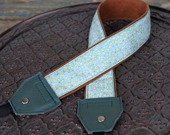 Blue Flowers Teal Leather and Suede Camera Strap