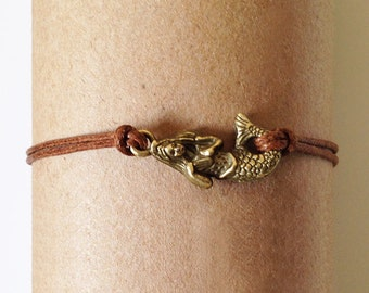 Delicate Bracelet, Thin Bracelet, Antique Bronze Mermaid Charm Bracelet, Cute Bracelet