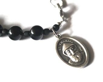 St Charbel Mens Rosary Bracelet Black Onyx Tigers Eye Turquoise Patron Saint Charbel Bracelet Male confirmation Gift Catholic Bracelet Stone