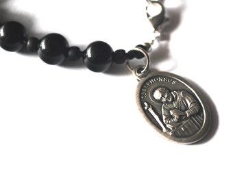 Saint Alphonsus Mens Rosary Bracelet Black Onyx Tigers Eye Turquoise Bracelet Male confirmation Gift St Alphonsus Catholic Stone Bracelet.