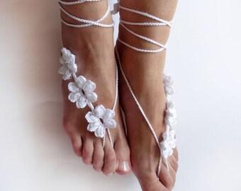 Beach Wedding Barefoot Sandals, Bridesmaid Gift, Crochet Flower Sandles, Bridal, Wedding Foot Jewelry