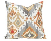 Decorative Pillow Covers - Gray and Orange Ikat Pillow Covers - Gray Orange Pillow Covers - Ikat Cushion Covers - Sofa Pillows