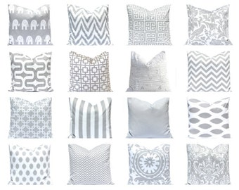 Gray Pillow Covers - Decorative Pillow Cover - Pillow Cover - Gray and White - Nursery Decor - Couch Pillow Covers - Gray Cushion Cover