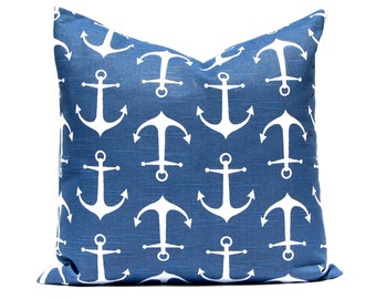One Throw Pillow Cover - Navy Blue Pillows - Anchor Pillow - Nautical Decor - Nautical Nursery - Sofa Pillows - Living Room Decor - Beach